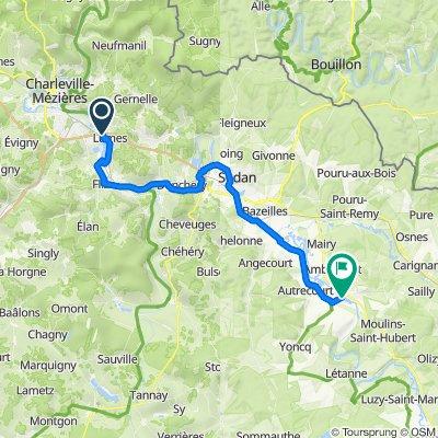 Route to Rue Charles de Gaulle, Mouzon