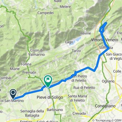 Da Via Fontana 59, Farra di Soligo a Via Brando Brandolini 11, Pieve di Soligo
