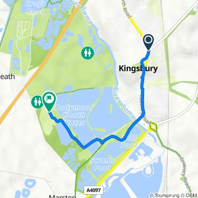 Route from 51 Tamworth Road, Tamworth