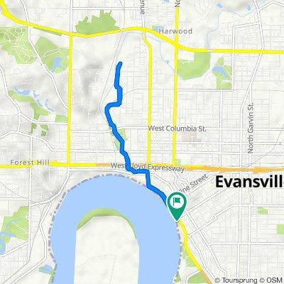 SE Riverside Dr, Evansville to SE Riverside Dr, Evansville