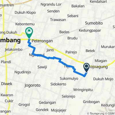 Jalan KH. Asy'ari 59, Kecamatan Mojowarno to Jalan Raya Mastrip 1, Kecamatan Peterongan