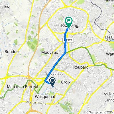 De 1 Allée des Tilleuls, Croix à 2 Promenade de la Fraternité, Tourcoing