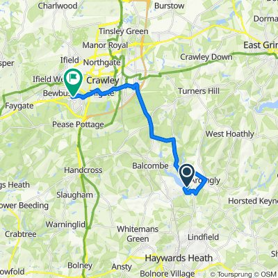 Route to 2 Celandine Close, Crawley