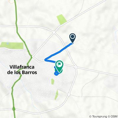 De Camino Pozo del Reloj 28, Villafranca de los Barros a Calle Belgica 44, Villafranca de los Barros