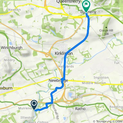 Route to 1–47 The Glebe, Dalmeny, South Queensferry