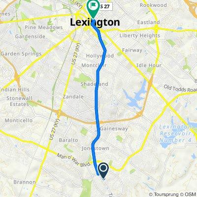 948 Tanbark Rd, Lexington to 251 W Main St, Lexington