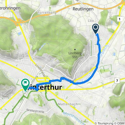 Stadlerstrasse 164, Winterthur nach Pionierstrasse 5, Winterthur