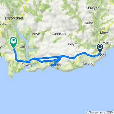 Route from The Downs, West Looe, Looe