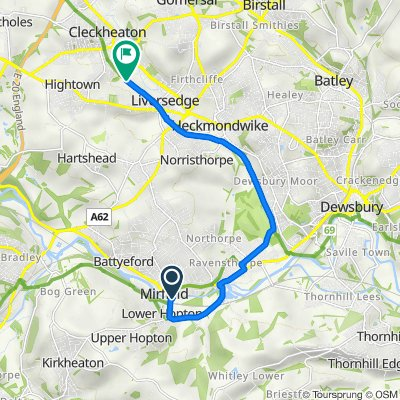 Route from 8 Lowlands Road, Mirfield