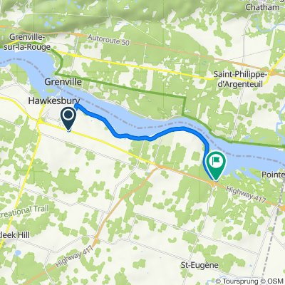 Route from 1575 Tupper St, Hawkesbury