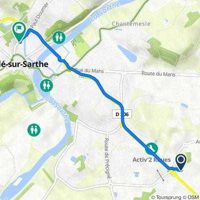 De Impasse de l'Aubrée, Sablé-sur-Sarthe à 27 Rue Paul Doumer, Sablé-sur-Sarthe