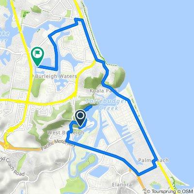 Path, Burleigh Heads to 70 Wedgebill Parade, Burleigh Waters