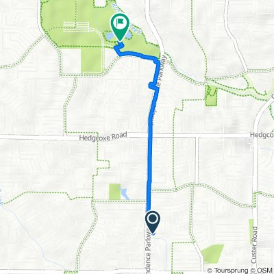 Route from 2908 Bowie Dr, Plano