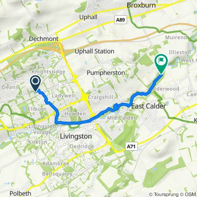Route from 95 Queens Crescent, Livingston