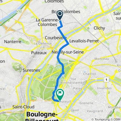 De 6 Place de la Belle Hispano, Bois-Colombes à 72 Rue d'Auteuil, Paris