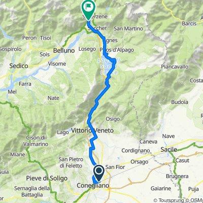 Da Via Capodistria 3, Conegliano a CIMA I PRA' (direzione Longarone), Ponte Nelle Alpi