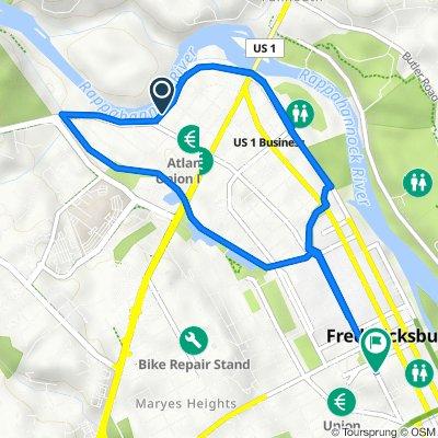 430–470 Riverside Dr, Fredericksburg to 801–851 Prince Edward St, Fredericksburg