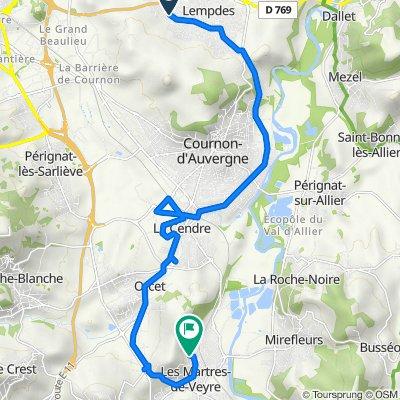 Itinéraire à partir de 14 Rue du Lac Pavin, Lempdes