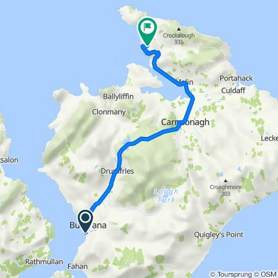 Route from Gabrielle's, Railway Road, Buncrana