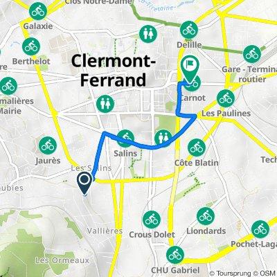 De 25 Rue André Theuriet, Clermont-Ferrand à 5–9Bis Avenue Carnot, Clermont-Ferrand