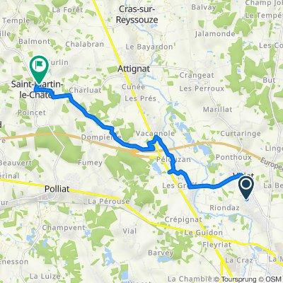 De Chemin du Quartier Jayr 729, Viriat à Route de Perrette 149, Saint-Martin-le-Châtel