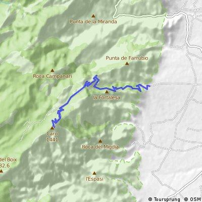 PUERTO DE MONTE CARO  Altitud 1.434 m. 14 KM. (Desnivel  1.140 m)