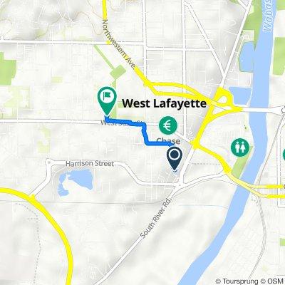 250 S Salisbury St, West Lafayette to 664–682 Oval Dr, West Lafayette