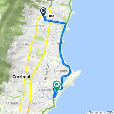 Route from 20 Russell Street, Woonona