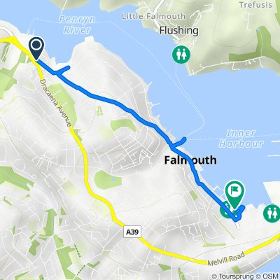 North Parade, Falmouth to Boat Park, Grove Pl, Falmouth