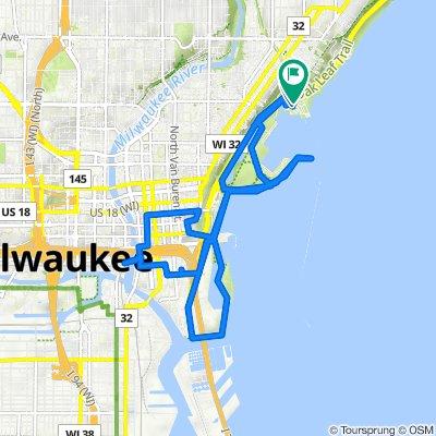 Milwaukee to North Lincoln Memorial Drive 1750, Milwaukee