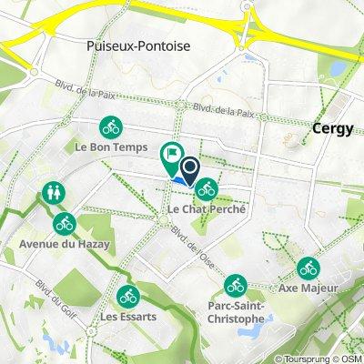 De 47 Avenue de la Belle Heaumière, Cergy à 13 Rue des Arpèges, Cergy