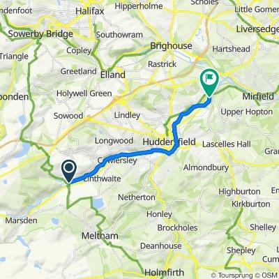 Route from 33 Bridge St, Huddersfield