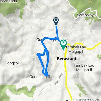 Jalan Kolam Renang 60, Kecamatan Berastagi to Jalan Gundaling 1, Kecamatan Berastagi