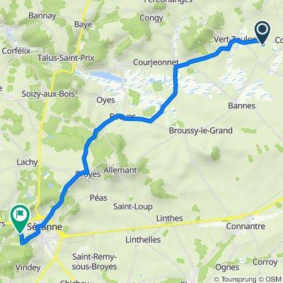 Itinéraire vers Chemin des Meuniers, Sézanne