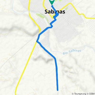 De Calle General Santos Degollado 636, Sabinas a Avenida Revolución 551, Sabinas