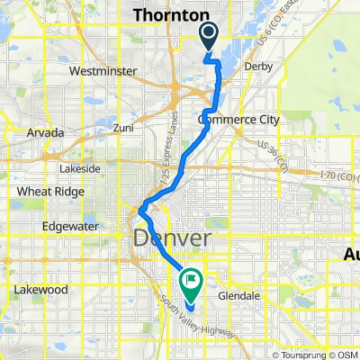 Route from 8393 Clayton Ct, Denver