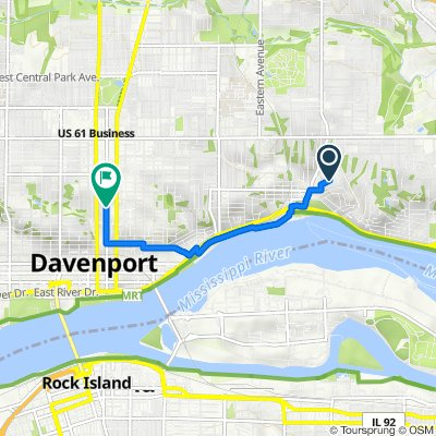 Route from 47 Crestwood Terr, Davenport