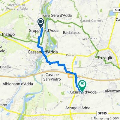 Da Via Monsignor Tosi 19, Cassano d'Adda a Via Rinaldo Paladini 7, Casirate d'Adda
