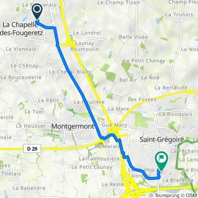 Itinéraire à partir de 3 Rue de la Rabine, La Chapelle-des-Fougeretz
