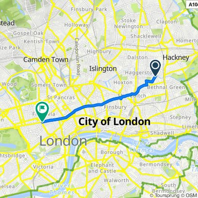 Cycling from Hackney to town