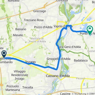 Da Via Alzaia Martesana, Bellinzago Lombardo a Via Dante Alighieri 4, Pontirolo Nuovo