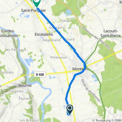 Itinéraire à partir de 17 Lotissement Nauze Espèce, Finhan