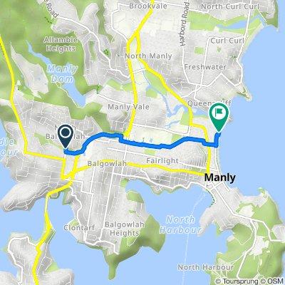 Route from 13 Bangaroo Street, North Balgowlah