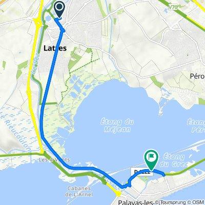 De 150 Avenue Léonard de Vinci, Lattes à D62e2, Palavas-les-Flots