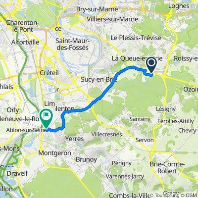 De 5 Route Nationale 4, Pontault-Combault à 15 Allée Beauséjour, Villeneuve-Saint-Georges