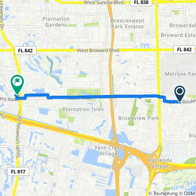 3500 Davie Blvd, Fort Lauderdale to 1181 S University Dr, Plantation