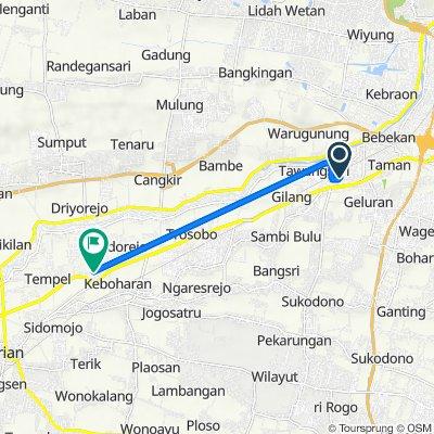 Kalibander, Kecamatan Taman to Jalan Barengkrajan No.4, Kecamatan Krian