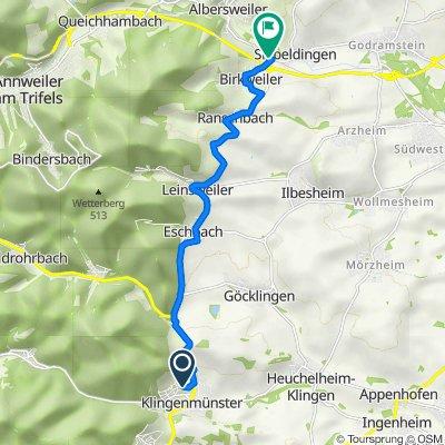 Route von In den Schelmengärten 20, Klingenmünster