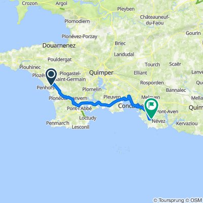 De 6 Impasse Belle Vue, Pouldreuzic à Route de Tréméou, Trégunc