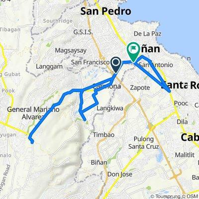 Route to General Malvar Street, Biñan City